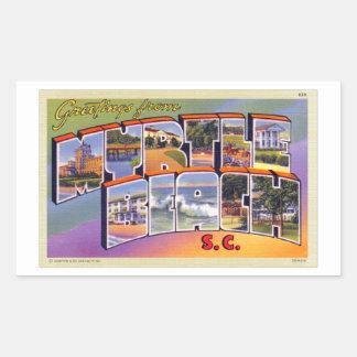 Cartão retro do SC de Myrtle Beach do kitsch do Adesivo Retangular
