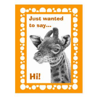 Cartão retro dos círculos do girafa do bebê