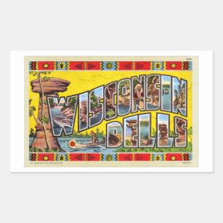 Cartão retro dos Dells de Wisconsin do kitsch do Adesivo Retangular