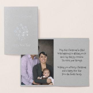 Cartão Metalizado Cartão retro dos enfeites de natal da folha de
