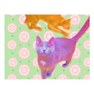 Cartão retro dos gatinhos