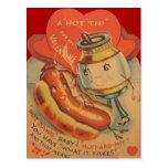Cartão retro dos namorados da mostarda do cachorro cartao postal