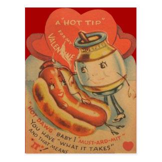 Cartão retro dos namorados da mostarda do cachorro cartão postal