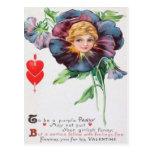 Cartão retro dos namorados do amor perfeito do vin cartão postal