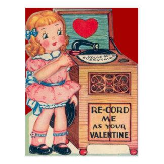 Cartão retro dos namorados do jogador gravado da
