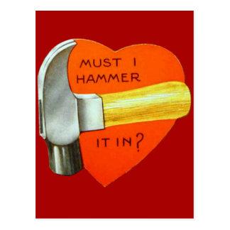 Cartão retro dos namorados do martelo do vintage