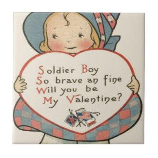 Cartão retro dos namorados do soldado do vintage