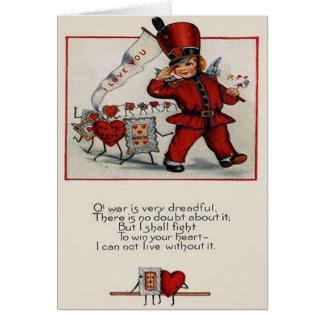 Cartão retro dos namorados dos corações do líder d