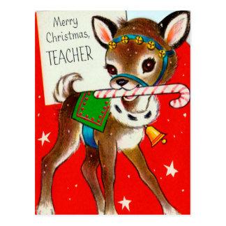 Cartão retro dos professores dos cervos do vintage