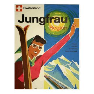 Cartão retro Jugfrau Swizerland do viagem do