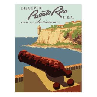 Cartão retro Puerto Rico do viagem do vintage