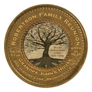 Cartão Reunião da árvore genealógica do olhar do vintage