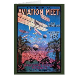Cartão Reunião da aviação do vintage no poster de Los