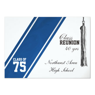 Cartão Reunião de classe azul da listra do time do