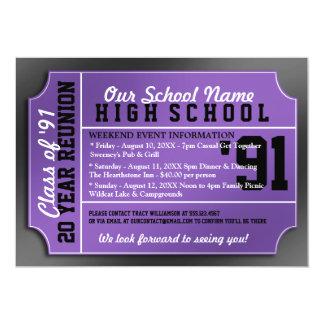 Cartão Reunião preta/roxa do estilo do bilhete de classe