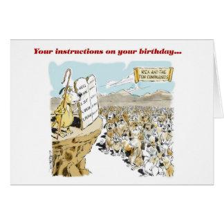 Cartão Rex como Moses com comandos do aniversário