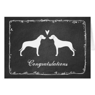 Cartão Rhodesian Ridgeback mostra em silhueta Congrats