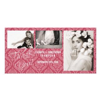 Cartão-rhubar da foto do casamento do vintage do d cartão com foto