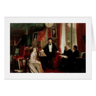 Cartão Richard Wagner com daught de Franz Liszt e de