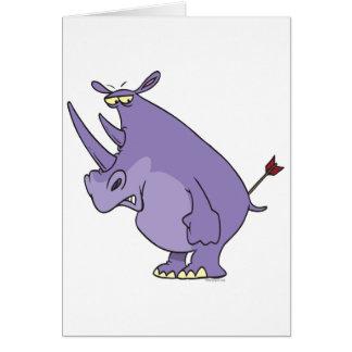 Cartão rinoceronte com a seta em desenhos animados do