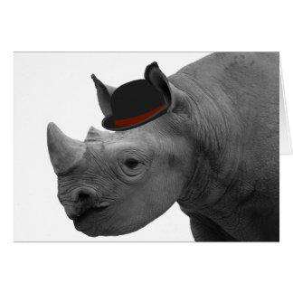 Cartão Rinoceronte com chapéu de jogador
