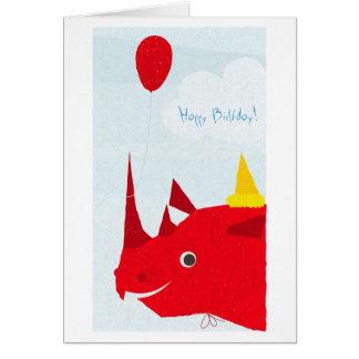 Cartão Rinoceronte do feliz aniversario (texto editável)