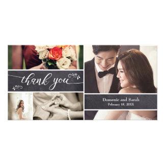 Cartão Riscado, obrigado rústico do casamento da colagem