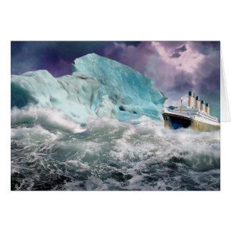 Cartão RMS titânico e pintura do iceberg