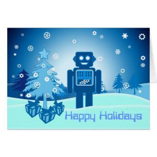 Cartão Robô azul Chritsmas