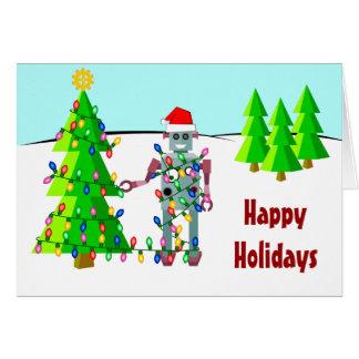 Cartão Robô com luzes de Natal