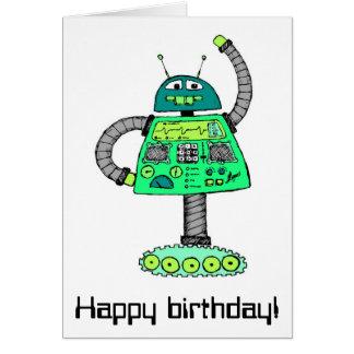 Cartão Robô de Frankie, verde no branco