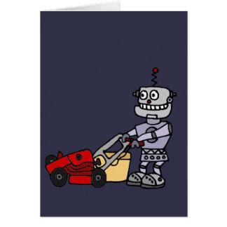 Cartão Robô que empurra o cortador de relva