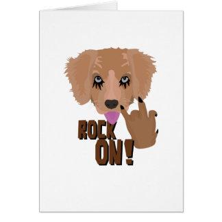 Cartão Rocha do filhote de cachorro do metal pesado sobre