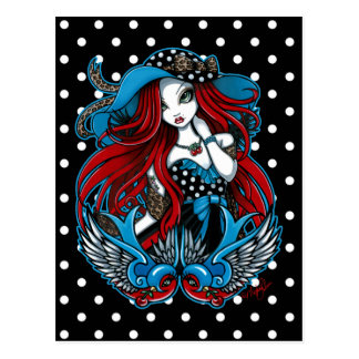 Cartão Rockabilly do anjo do tatuagem da andorinha