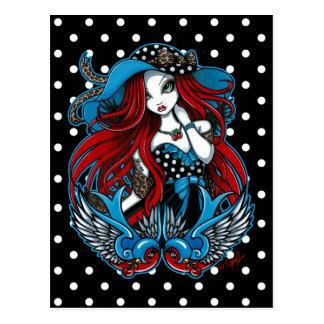 Cartão Rockabilly do anjo do tatuagem da andorinha Cartao Postal