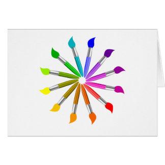Cartão Roda de cor da escova de pintura, teoria da cor do