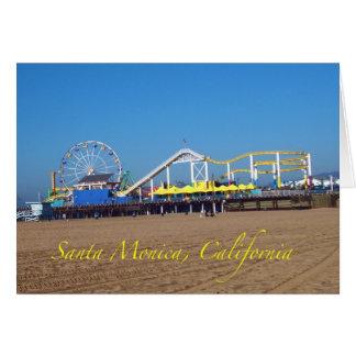 Cartão Roda de Ferris do cais de Santa Monica famosa,