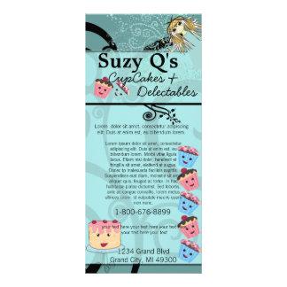 Cartão rodado azul da cremalheira do Aqua do cupca Panfleto Personalizado