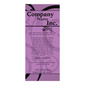 Cartão rodado roxo da cremalheira 10.16 x 22.86cm panfleto