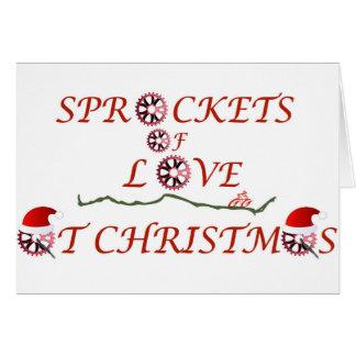 Cartão Rodas dentadas do Natal do amor