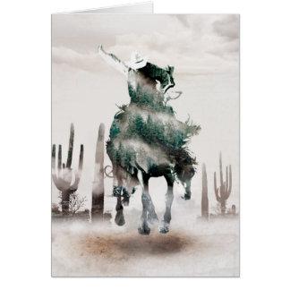 Cartão Rodeio - exposição dobro - vaqueiro - vaqueiro do