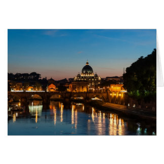 Cartão Roma em a noite, com St Peters.