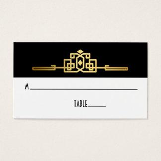 Cartão romance dourado do lugar do art deco