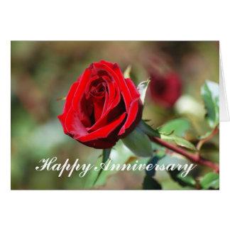 Cartão romântico da rosa vermelha do aniversário f