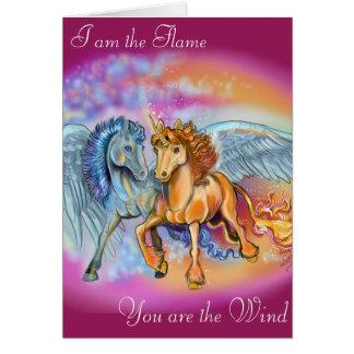 Cartão romântico de Pegasus do unicórnio do vento