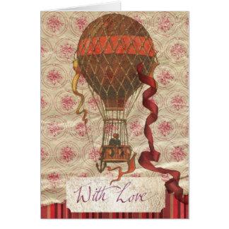 Cartão romântico do balão do dia dos namorados do
