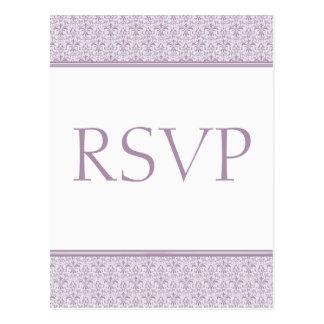 Cartão romântico do damasco RSVP, lavanda Cartão Postal
