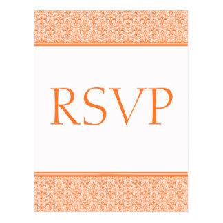 Cartão romântico do damasco RSVP, tangerina Cartão Postal