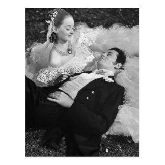 Cartão romântico do francês do casal