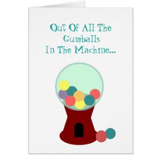 Cartão romântico engraçado da máquina de Gumball